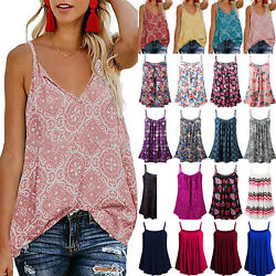 Womens Beach Boho Sleeveless Summer Vest Tank Top Cami T Shirt Blouse Plus Size $12.91