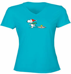 Snoopy Woodstock Winter Holiday Juniors Women Tee T Shirt Funny Gift Christmas $15.30