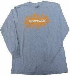 Nickelodeon Orange Splat Gray Long Sleeve T Shirt $11.99