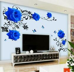 Huge Wall Stickers Blue Rose Living Room Bedroom Home Wall Decorations Mural $9.95