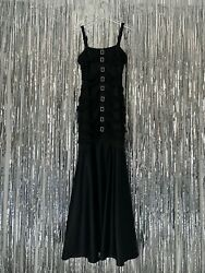 CHANEL 2001 Black Silk Buckle Gown SIZE 42 FR Rhinestone Dress Deadstock $5665