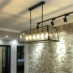 6 Lights Industrial Acrylic Chandelierss Edison Bulbs Lighting Ceiling Fixtures $168.14