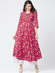 Women#x27;s Red Dress A Line Kurta Kurti Hot Party Wear Long Dress Ethnic Wear Top $25.99