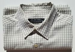 Axis Ivory/Olive Plaid Short Sleeve Button Down Shirt, Mens Large, Poly Blend $9.99