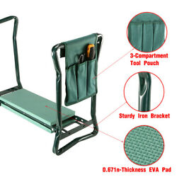 Foldable Kneeler Garden Bench Stool Soft Cushion Seat Pad Kneeling w Tool Pouch^ $31.99