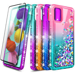 For Samsung Galaxy A51 Case Liquid Glitter Bling Cover Tempered Glass Protector $9.99