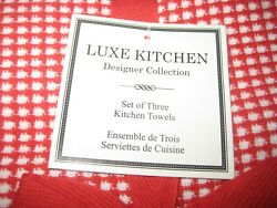 Luxe Kitchen Kitchen Towels Set Of 3 Red Gingham NEW in Pkg $21.99