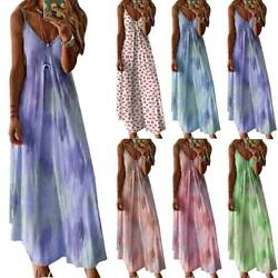 Women Summer Casual Long Maxi Dress Ladies Print Beach Sleeveless Sun Dresses $18.99