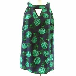 Stitch Fix Market & Spruce Blue Green Pineapple Sleeveless Top Keyhole Halter M $4.99