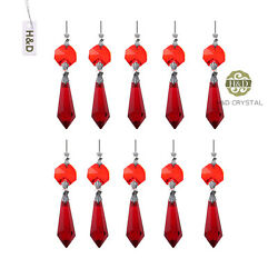 20 Red Chandelier Glass Crystals Lamp Prisms Parts Hanging Drops Pendants 38mm $9.89
