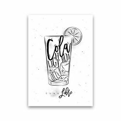 Cuba Libre Cocktail Modern Print Framed Kitchen Wall Art GBP 25.00