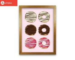 Donuts Pink Modern Print Framed Kitchen Wall Art GBP 10.00