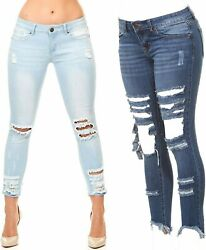 VIP Jeans Ripped Distressed Skinny jeans for women Junior Plus size 5 Colors $19.99