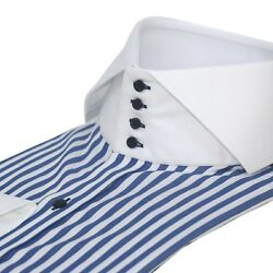 Mens High collar shirts Navy Blue stripes Bankers White Italian collar for Gents $110.09