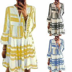 Women Fashion 3 4 Bell Sleeve Geometric Print V Neck Beach Skirt Bohemian Dress $15.84
