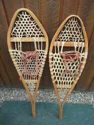 GREAT VINTAGE Snowshoes 40quot; Long x 12quot; ODD with Leather Bindings For DECORATION $49.87