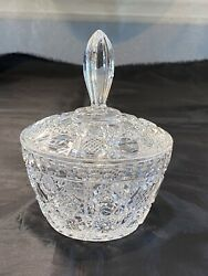Antique Crystal Pressed Glass Lidded Candy Dish $12.25