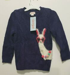 Cat amp; Jack Girls Long Sleeve #x27;Llama#x27; Pullover Sweater Purple Size 3T NWT $9.99