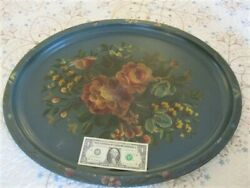 Extra Large Hand Painted Teal Green Muted Roses amp; Violets Antique Tole Tray $70.31