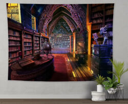 Ancient Castle Library Bookshelves Tapestry Wall Hanging Living Room Bedroom LB $15.99
