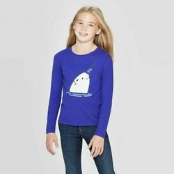 Cat amp; Jack Girls#x27; Long Sleeve Flip Sequin Narwhal T Shirt $9.99