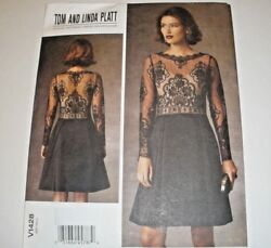 Vogue 1428 Sewing Pattern Misses sz 16 24 plus Cocktail Dress Sheer Top UC $7.99