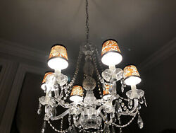 "6 Custom Small Chandelier Shades ""Pierre Deux"" Brown 'La Declaration' Fabric $180.00"