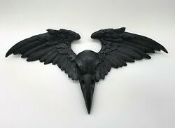 Wall 3D decor Crow Raven Skull Wings Ornament Plaque Victorian Alchemy Gothic GBP 17.95