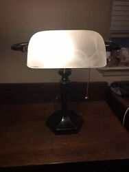 Awesome Smoke White Glass Bankers Student Piano Desk Lamp $40.00