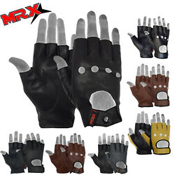 MRX Mens Leather Fingerless Driving Motorcycle Biker Gloves Work Out Exercise $11.99