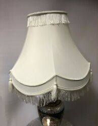 VICTORIAN STYLE TRADITIONAL FULLY LINED CREAM amp; SILVER TABLE LAMP SHADE GBP 16.99