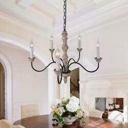 5 Light Candle Chandelier French Country Wood Rust Metal Pendant Lamp Fixture US $159.99