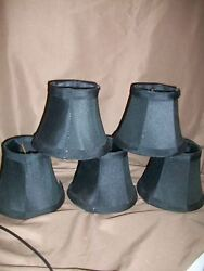 5 SOFT BACK BLACK CHANDELIER LAMP SHADES CLIP ON $24.99