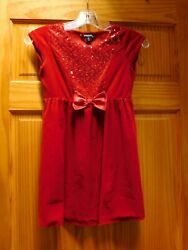 Holiday Party Dress Girl#x27;s Clothing Kid Size M 7 8 Bright Red Soft 100% Polyest $10.99
