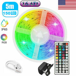 US 16.4ft Roll quot;5050quot; Waterproof RGB LED Strip Light Set With 12V Power amp; Remote $7.99