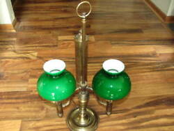 Student Lamp Brass Double Arm Cased Green Shades Electric $95.00