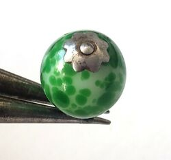 Antique Green Glass Ball Button…Pinshank with Star on Top amp; on Bottom $25.00