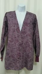 TAFFORD SMALL SHADES OF PURPLE PRINTED SNAP CLOSURE LONG SLEEVE SCRUB JACKET $11.95