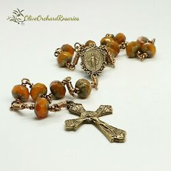 Handmade Orange Opal Picasso Czech Beads Miraculous Medal One decade Rosary $32.00