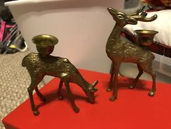 Set of 2 Vintage Brass Deer Buck amp; Doe Figures Candle Holders Candlesticks $18.99