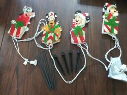 Disney Christmas Mickey amp; Minnie Mouse w Goofy amp; Pluto Light up Yard Stakes $29.95