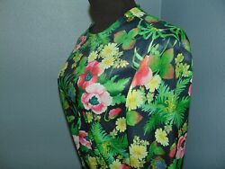 Vintage Jeanne Durrell 2 Piece Maxi Dress 1970#x27;s Black Green Floral Polyester $29.99