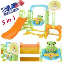 5 in 1 Kids Indoor and Outdoor Slide Swing and Basketball Football Baseball Set $195.88