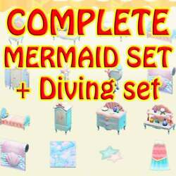 ACNH👠🔔🍦🎻Mermaid Furniture DIY Set Diving Set Full Complete with Pearls🍄🐟 $5.99