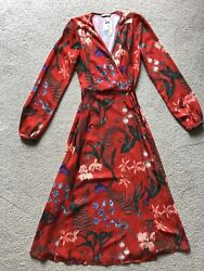 Hamp;M Gorgeous Red Maxi Long Sleeve Dress V Neck Tie Waist Floral Size 6 WOW New $49.99