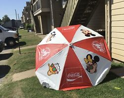 Coca Cola Coke Vintage Extra Large Commercial Umbrella Disney 1986 15th Ann