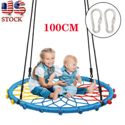 100cm Kids Swing Round Rope Outdoor Garden Hanging Nest Swing Seat Play Safety $53.88