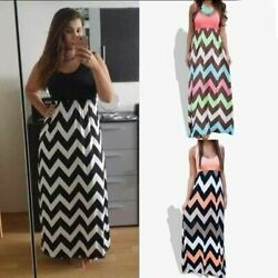 Plus Size S 5XL Women Summer Striped Floral Printed Sleeveless Casual Maxi Dress $10.44