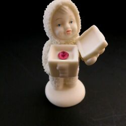 Dept 56 #x27;Snowbabies#x27; holding October pink birthstone in a gift box $6.99