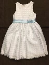 American Princess Party Formal Special Occasion Dress * 16 * White Blue Sash $17.84